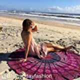 Indian Peacock Mandala Round Roundie Beach Throw Tapestry, Hippy Boho Gypsy Cotton Tablecloth Beach Towel, Pyshedlic Tapestries, Indian Bedding Coverlet Bohemian Wall Decoration Dorm Tapestry, Dorm Room Decor, Meditation Yoga Mat With Beautiful Carry Bag, Picnic Blanket, Vintage Decorative Wall Hanging, 70 Inch. By Bhagyoday