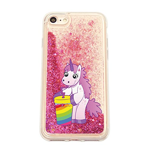 finoo | iPhone 6 / 6S Flüssige Liquid Pinke Glitzer Bling Bling Handy-Hülle | Rundum Silikon Schutz-hülle + Muster | Weicher TPU Bumper Case Cover | Einhorn Katze Einhorn Limo