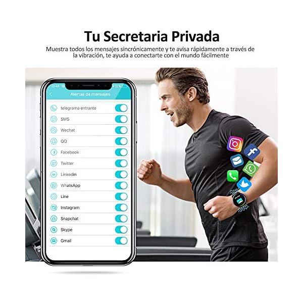 NAIXUES Smartwatch, Reloj Inteligente IP67 con Presión Arterial, 10 Modos de Deporte, Pulsómetro, Monitor de Sueño, Notificaciones Inteligentes, Smartwatch Hombre Mujer para iOS y Android (Negro) 6