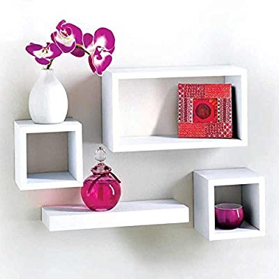 MDF 4 Piece Floating Wall Cube Shelf Shelves White Storage by Salerno - inexpensive UK light store.