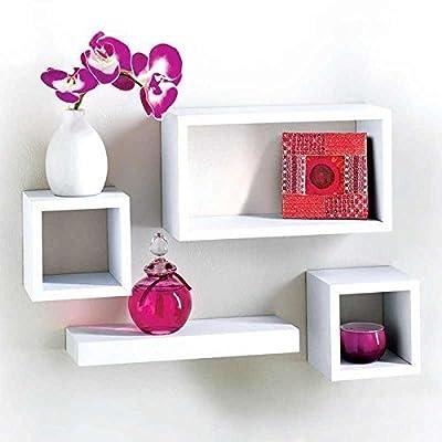 MDF 4 Piece Floating Wall Cube Shelf Shelves White Storage by Salerno - cheap UK light store.