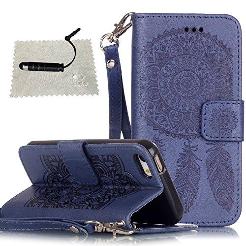 Custodia per iPhone 5s Blu,TOCASO Campanula Series Flip Wallet Case