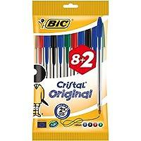 BIC Cristal Original - Pack de 8 + 2 bolígrafos, colores azul, negro, rojo y verde