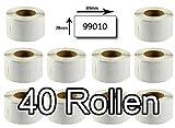 Bubprint 40 Etiketten kompatibel für Dymo 99010 S0722370 für Labelwriter 310 320 330 Turbo 400 Twin Turbo Duo 450 Twin Turbo Duo SE450 28MMX89MM Weiß