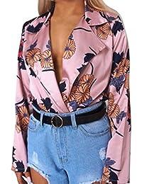 Challeng Femmes Dames Floral Imprimé Tuxedo Wrap Over Satin Body Jumpsuit,Chemise  Femme Manche Longue 7f31246c3cab