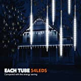 Samoleus 50cm 10 Tube 540 LEDs Meteorschauer Lichterkette Innen, IP65 Wasserdichte Meteor Shower Lichter mit EU Stecker, Meteorschauer Regen Lichter für Party Weihnachten Dekoration Außen (Weiß-50cm)