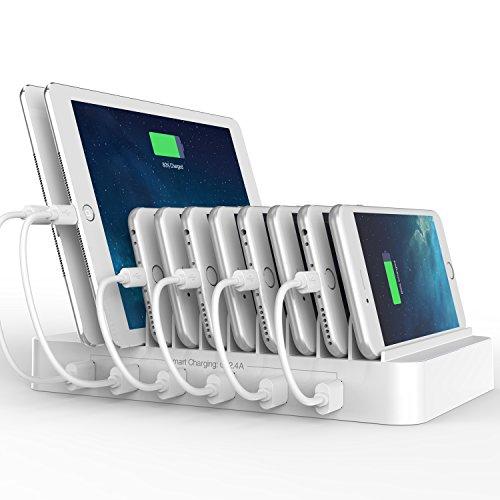 FlePow® Dock Station di ricarica con 10 porte USB e cavetti inclusi (design brevettato retrattile) Organizzatore per smartphone e tablet, Bianco