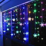 Klighten RGB LED Schneeflocke Lichterketten, 96 LED Lichterkettenvorhang Vorhang Lichter mit 8 Modi Weihnachtsbeleuchtung für Innen/Außen Weihnachtsdeko Deko