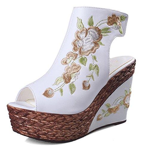 Ljf sandali con i tacchi alti scarpe bianche con i tacchi alti ragazze estate sandali con zeppa con zeppa/sandali sandali etnici ricamati (color : white, size : 39)
