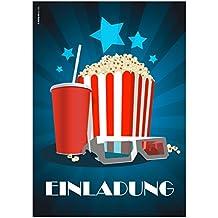 """12 Einladungskarten """"Kino Popcorn"""" zur Film- /Kinovorführung am Geburtstag Kindergeburtstag / Geburtstagseinladungen Einladungen Kinder Jungen Mädchen Einladungstext Vorlagen Karten Set"""