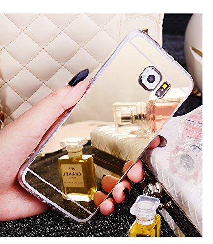Custodia Samsung Galaxy S6 Edge, Galaxy S6 Edge Cover, Galaxy S6 Edge G925 Custodia Cover, JAWSEU Moda Lusso Specchio Riflessione Scintilla Scintillio Diamante Bling Glitter Custodia Cover per Samsung Champagne Oro