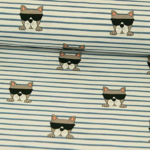 Stoffe Werning Baumwolljersey Cooler Hund mit Sonnenbrille Designed by Fräulein von Julie - Preis Gilt für 0,5 Meter