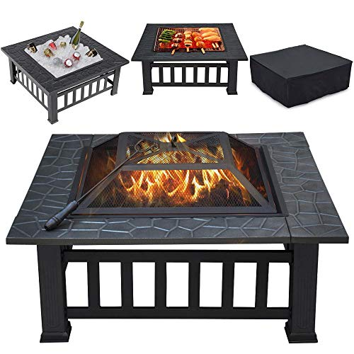 Yaheetech Large 3 in 1 Outdoor Fire Pit Square Stove Brazier Garden Patio Heater for BBQ, Heating, Cooling Drinks with Cover & Poker