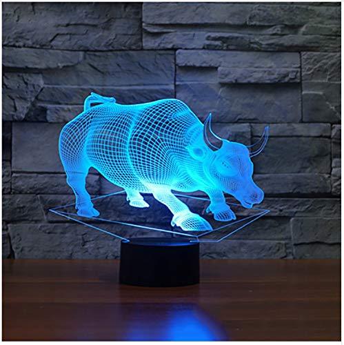 Nachtlicht Led Buffalo 3D Bunte Schreibtisch Tischlampe Stierlampe Usb Tier Baby Schlaf Beleuchtung Schlafzimmer Nachttischlampe Leuchte Dekor Geschenk