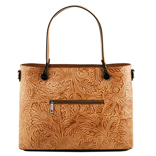 Tuscany Leather Atena Borsa shopping in pelle Ruga stampa floreale - TL141655 (Blu scuro) Cognac