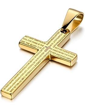 Cupimatch Herren Halskette mit Anhänger, Exquisit Edelstahl Kruzifix Kreuz Bibel Herren Gebet Anhänger mit 55cm...