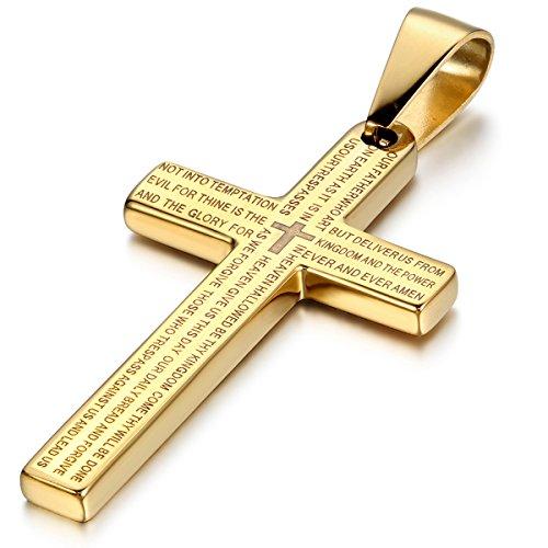 Cupimatch Edelstahl Bibel Gebet Kreuz Anhänger mit 55cm Kette, Halskette für Herren Damen, Gold Silber