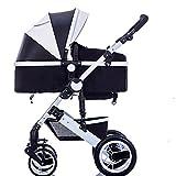 Vélos enfan DUO Babysing bébé poussette nouveau-né enfants poussette 0-36 mois bébé poussette avec couvercle résistant aux intempéries (Couleur : Noir)