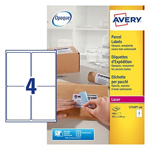 Great Buy for 3xAvery L7169-100 Parcel/Shipping Labels, Self-Adhesive – 4 Labels Per A4 Sheet Discount