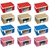 Homestrap Non Woven Storage Bag/ Organiser/ Saree Cover With Window (90 Gsm Fabric) / Red,Blue,Pink & Beige / Set Of 12