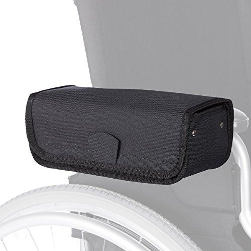 Rollstuhl-Armlehnetasche, Tasche Aufbewahrungstasche für Rollstuhl, wasserdicht & formstabil, Klettverschluss, 25x 10x 9 cm, schwarz - Rollstuhl Armlehne