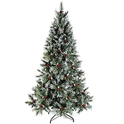 Scandinavian Blue Spruce Christmas Tree includes Pine Cones and Berries 5ft 6ft 7ft