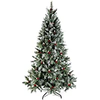 WeRChristmas Scandinavian Blue Spruce Christmas Tree Includes Pine Cones and Berries with Easy Build Hinged Branches, Green, 5 feet