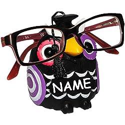 """Brillenhalter - """" lustige Eule - schwarz """" - incl. Name - stabil aus Kunstharz - universal Größe - für Kinder & Erwachsene / Brillenhalterung - lustiger Brillenständer - für Sonnenbrille Lesebrille - Brillenablage - Tier lustig - Deko Figur - Prüfung - Schule / Lernen Abschluß - Fahrschule - Universität"""