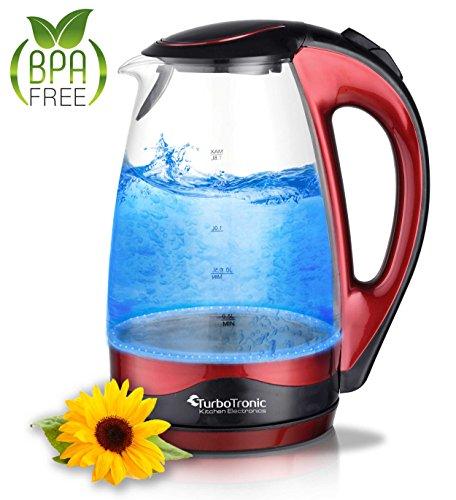 TurboTronic Glas Wasserkocher 1,8 Liter mit Kalkfilter und LED Beleuchtung, BPA Frei, Leistung: 2200 Watt, Rot