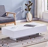 GOLDFAN Table Basse Rectangulaire Haute Brillance Table Basse de Salon en Bois laqué avec Stockage, Design Moderne, Blanc,115x55x31cm