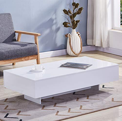 GOLDFAN Mesa de Centro Color Blanco Moderno Rectangular Mesa Auxiliar para Salon Oficina,115x55x31cm