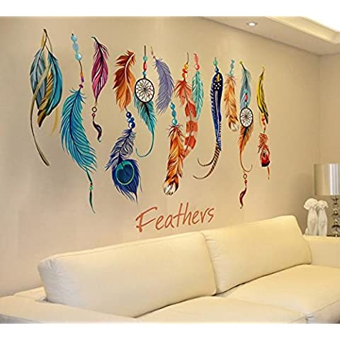 POTOBrand, clásico Creative Dream Catcher pluma pared etiqueta engomada de la etiqueta del Arte Mural