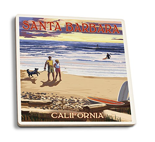 Santa Barbara, Kalifornien-Strand und Sonnenuntergang, keramik, mehrfarbig, 4 Coaster Set Keramik-santa