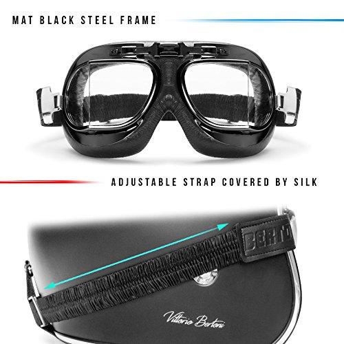 Masque moto aviateur Bertoni noir 4