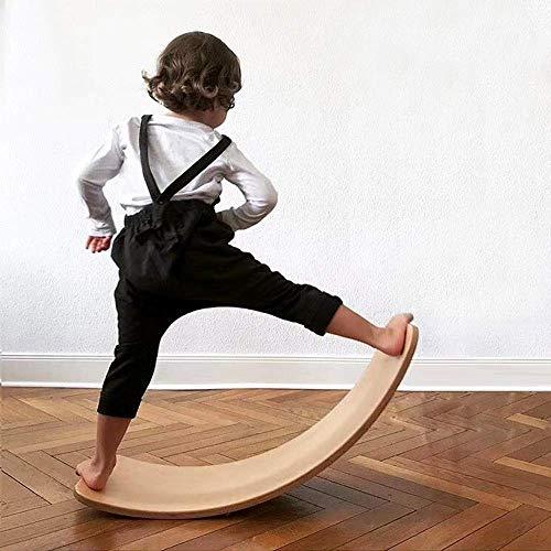 VISTANIA Kinder Holz Balance Board | Montessori Holzbrett | Curved Swing Schaukelbrett | Wackelbrett