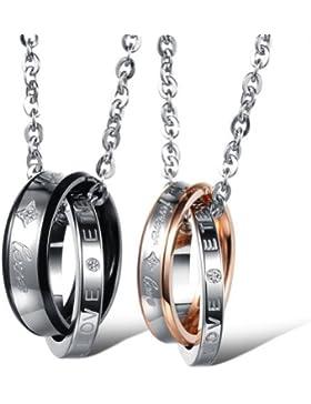 JewelryWe Schmuck Edelstahl Paare Halskette, 2 Ringe Verriegelung mit