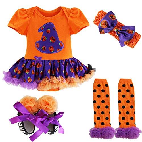 YiZYiF Neugeborenes Baby Mädchen Bekleidungsset Outfits Kürbis Halloween Kostüm Kurzarm Strampler Overall mit Tütü Röckchen + Stirnband + Beinwärmer + Schuhe (6-9 Monate, Orange + (Halloween Mädchen Outfit)