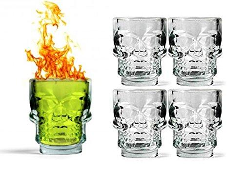 4 x skull bicchierini vetro bicchieri per liquore, grappa, tequila,