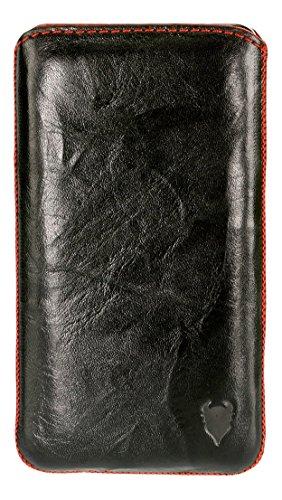 Case in pelle MediaDevil Apple iPhone 6 (Pelle Nera con cucitura Nera ed interno Nero) - Case in vera Pelle Europea Artisanpouch con linguetta estraibile nero/rosso