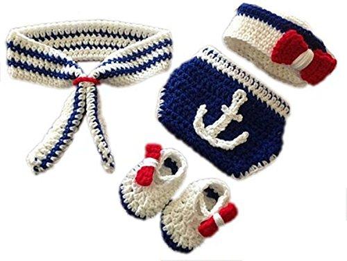 e Prop Baby Kostüm blau Marine häkel Stricken Handarbeit (Marines Kostüme)