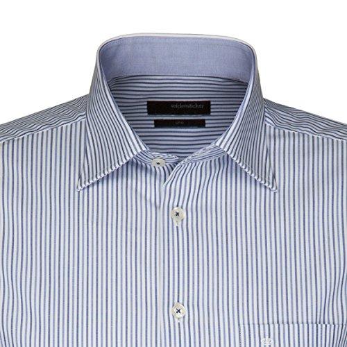 Seidensticker Hemd Uno Kentkragen in Langarm (66cm) Bügelleicht blau/weiss, Gestreift Blau
