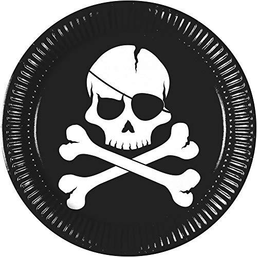 Procos - Lote de 10 platos de papel con diseño de piratas Black Skull, 23 cm, multicolor, PR9718