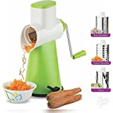 Ad Fresh 4 In 1 Vegetable Rotary Graters & Slicers And 1 Drum With 4 Stainless Steel Rotary Blades (Green+White)