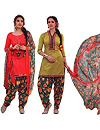 EasyToShop Retail Women's Cotton Printed Salwar Suits Unstiched Dress Materials (Combo Pack Of 2) _AMVRRR007_Red...