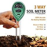 #2: Dwayne C Soil pH Meter, 3-in-1 Moisture Sensor Meter/Light/pH Soil Test Kits, Gardening Tools for Home and Garden Lawn Farm Plants Care Soil Tester
