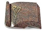 MEMORUM Grabmale Grabbuch, Grabplatte, Grabstein, Grabkissen, Urnengrabstein, Liegegrabstein Modell Prestige 40 x 30 x 8-9 cm Paradiso-Granit, Poliert inkl. Gravur (Bronze-Ornament Lilien)