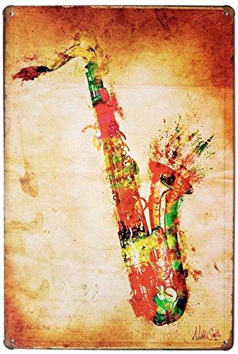 HiOni Saxophone Musik Vintage Blechschild Poster Wandschild Wand Dekoration Metallschild Türschild