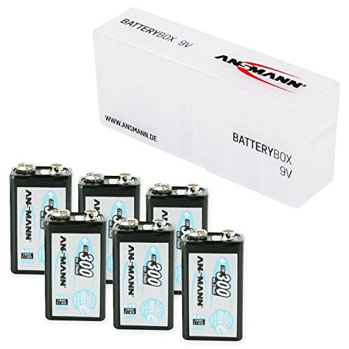 ANSMANN Pack de 6 Pile+ Boîte rechargeable NiMH maxE batterie carrée 9V (E) Type 300 (min. 270 mAh) Faible Décharge PP3 6F22