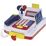 Unbekannt Supermarkt Spiel Kasse inkl. Mikrofon, Scanner, Kassenschlüssel - Kinder Spielzeug Kasse Kauf Einkaufs Kaufmanns-Laden Shop Zubehör