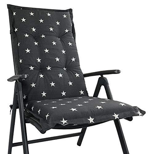 Hochlehner Auflage für Gartenstühle 120x50x8cm - Premium Stuhlauflage mit Komfortschaumkern und Bezug 100{a81ab15b17891952b772abeb4587c913baefbde7e9fc58340d17ccb4d333ccef} Baumwolle - Sitzauflage Made in EU / ÖkoTex100, Design:Stern Anthrazit, Anzahl:8er Set